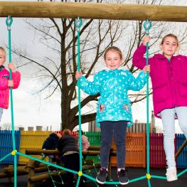 Kids love the climbing frame at Inchyra Place.