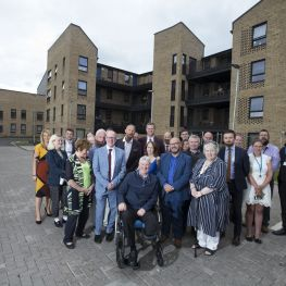 Housing Minister Kevin Stewart MSP visits new Loretto homes in Shawbridge Street, Glasgow