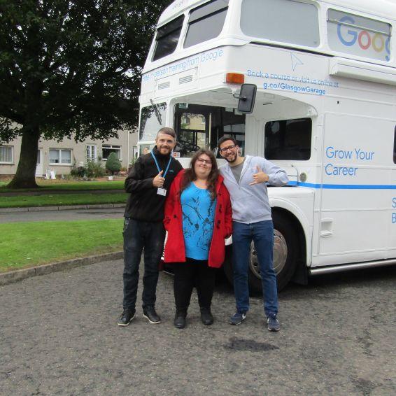 Tenant Heather Trevit with housing officer Paul McArthur and Google's Matt Borka in Lanark