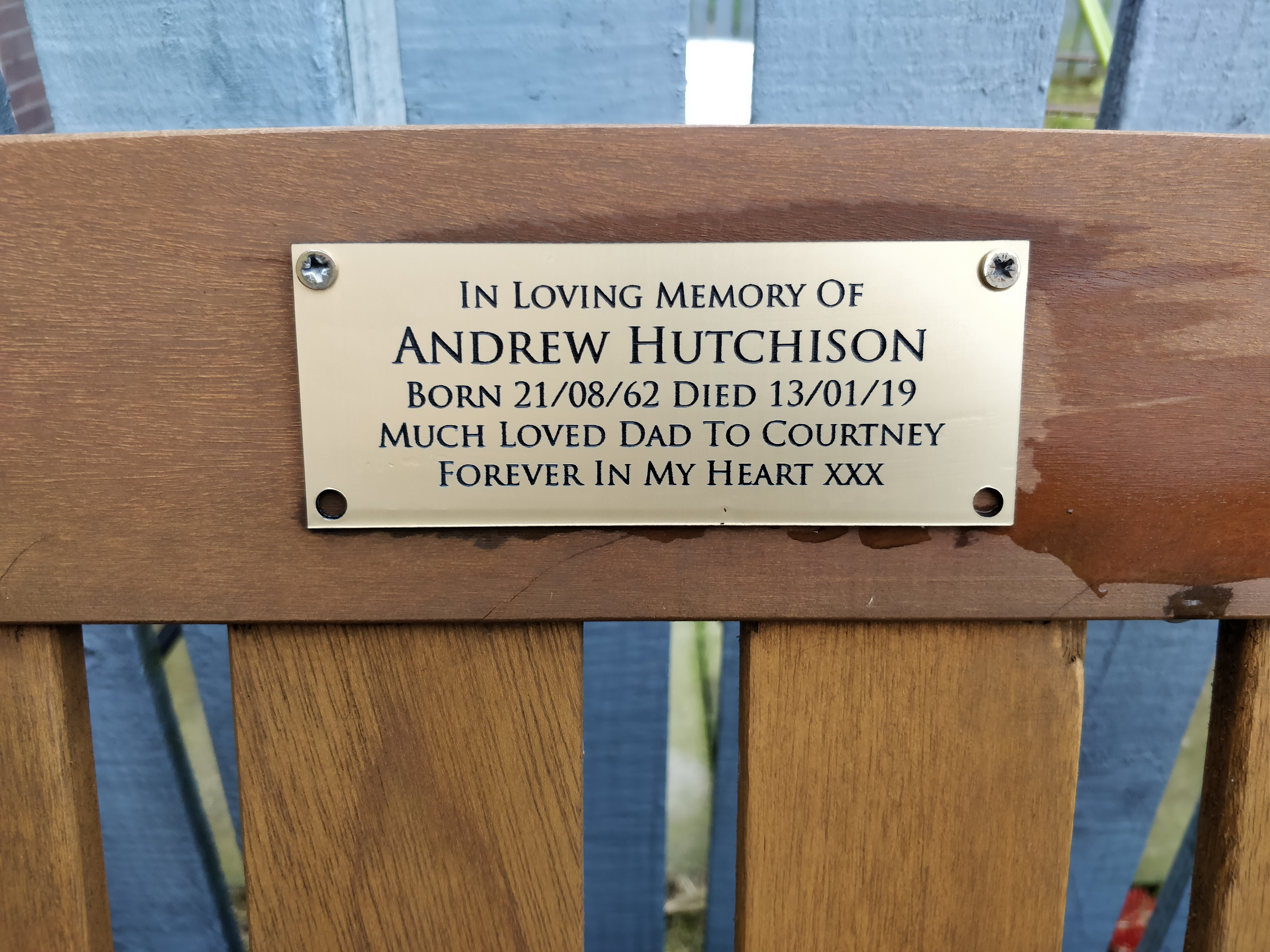 Loretto arranged a memorial bench with plaque during lockdown for a tenant's late dad